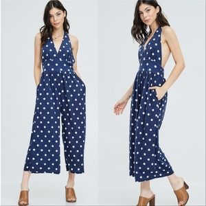 JUMPSUIT POLKA - DOT BLUE HALTER WOMENS LADIES